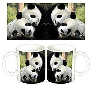 Taza de cafe con foto de oso panda