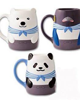 set de tazas panda, polar y pinguino